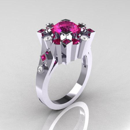 Classic 10K White Gold 1.5 Carat Pink Sapphire Diamond Wedding Ring AR108-10KWGDPSS-1