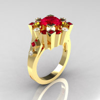 Classic 10K Yellow Gold 1.5 Carat Ruby Diamond Wedding Ring AR108-10KYGDRR-1