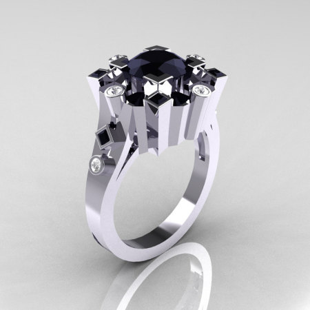 Classic 14K White Gold 1.5 Carat Black Diamond Wedding Ring AR108-14KWGDBLL-1
