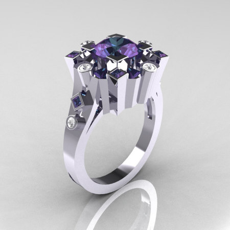 Classic 10K White Gold 1.5 Carat Alexandrite Diamond Wedding Ring AR108-10KWGDALL-1