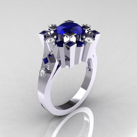 Classic 18K White Gold 1.5 Carat Blue Sapphire Diamond Wedding Ring AR108-18KWGDBSS-1