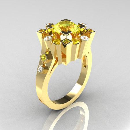 Classic 14K Yellow Gold 1.5 Carat Yellow Topaz Diamond Wedding Ring AR108-14KYGDYTT-1