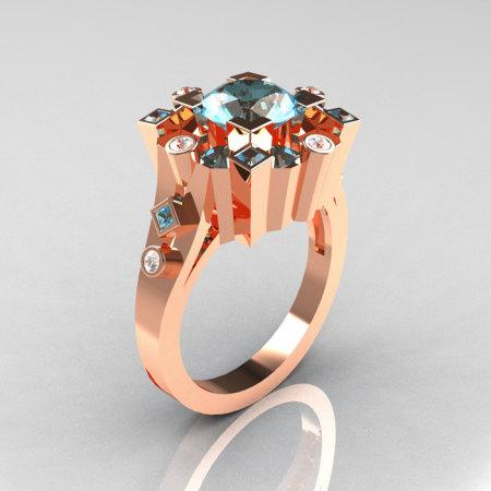 Classic 14K Rose Gold 1.5 Carat Aquamarine Diamond Wedding Ring AR108-14KRGDAQQ-1