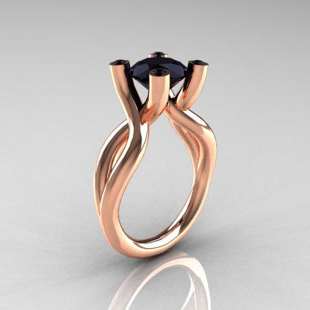 Modern 14K Rose Gold 1.5 Carat Black Diamond Solitaire Ring AR110-14KRGBLDD-1