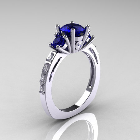 Classic French Bridal 10K White Gold Three Stone 1.0 Carat Blue Sapphire Accent Diamond Engagement Ring AR112-10WGDBS-1