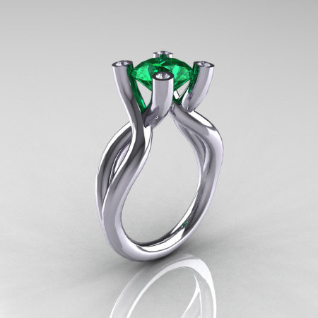 Modern 10K White Gold 1.5 Carat Emerald Diamond Solitaire Ring AR110-10KWGDEM-1