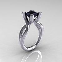 Modern Bridal 18K White Gold 1.5 Carat Black Diamond Solitaire Ring AR110-18KWGDBD-1