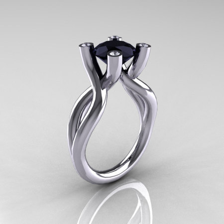 Modern Bridal 18K White Gold 1.5 Carat Black Diamond Solitaire Ring AR110-18KWGDBD-1