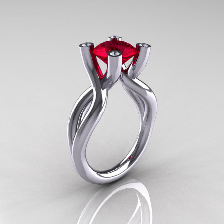Modern 10K White Gold 1.5 Carat Ruby Diamond Solitaire Ring AR110-10KWGDRU-1
