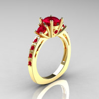 Classic French Bridal 18K Yellow Gold Three Stone 1.0 Carat Ruby Engagement Ring AR112-18KYGRRU-1
