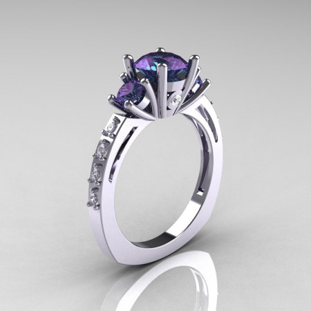 Classic French Bridal 10K White Gold Three Stone 1.0 Carat Alexandrite Diamond Engagement Ring AR112-10KWGDAL-1