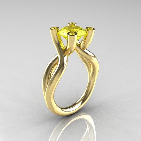 Modern 18K Yellow Gold 1.5 Carat Yellow Topaz Solitaire Ring AR110-18KYGYTT-1