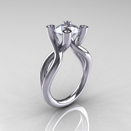 Modern 14K White Gold 2 Carat CZ Diamond Solitaire Ring AR110-14KWGDCZ-1