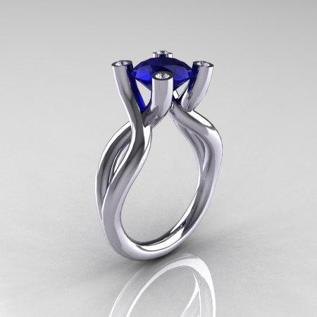 Modern 14K White Gold 1.5 Carat Blue Sapphire Diamond Solitaire Ring AR110-14KWGDBS-1