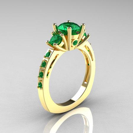 Classic French Bridal 14K Yellow Gold Three Stone 1.0 Carat Emerald Engagement Ring AR112-14KYGEMM-1