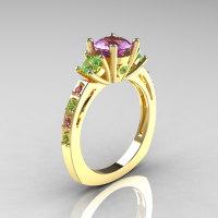 Classic French Bridal 10K Yellow Gold Three Stone 1.0 Carat Lilac and Green Amethyst Engagement Ring AR112-10KYGLGAM-1