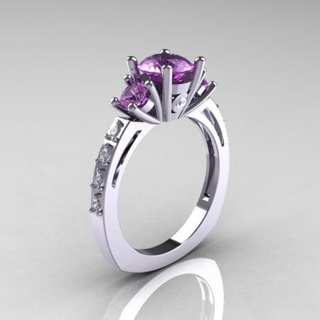 Classic French Bridal 10K White Gold Three Stone 1.0 Carat Lilac Amethyst Diamond Engagement Ring AR112-10KWGDLA-1