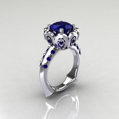 Classic 14K White Gold 3.0 Carat Blue Sapphire Greek Galatea Bridal Wedding Ring AR114-14KWGBSS-1