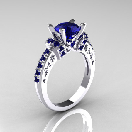 Modern Armenian Classic 14K White Gold 1.5 Carat Blue Sapphire Solitaire Wedding Ring R137-14WGBSS-1