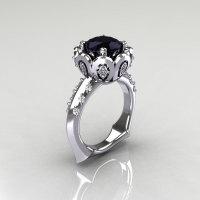 Classic 10K White Gold 3.0 Carat Black Diamond Greek Galatea Bridal Wedding Ring AR114-10KWGDBD-1