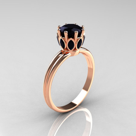 Modern Antique 14K Pink Gold Marquise and 1.0 CT Round Black Diamond Solitaire Ring R90-14KPGBDD-1
