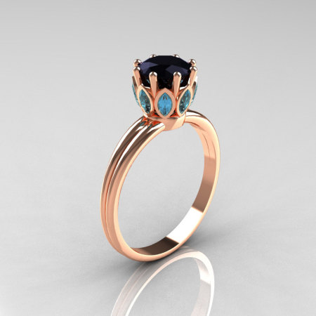 Modern Antique 18K Pink Gold Marquise Aquamarine 1.0 CT Round Black Diamond Solitaire Ring R90-18KPGBDAQ-1