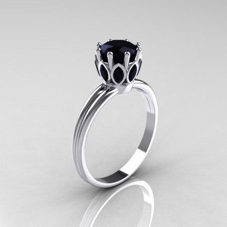 Modern Antique 10K White Gold Marquise and 1.0 CT Round Black Diamond Solitaire Ring R90-10KWGBDD-1