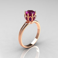 Modern Antique 18K Pink Gold Marquise and 1.0 CT Round Amethyst Solitaire Ring R90-18KPGAMM-1