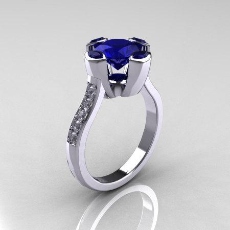 Modern Classic 950 Platinum 1.5 Carat Round and Marquise Blue Sapphire Diamond Solitaire Ring AR121-PLATDBSS-1