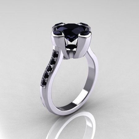 Modern Classic 10K White Gold 1.5 Carat Round Marquise Black Diamond Solitaire Ring AR121-10WGBDD-1