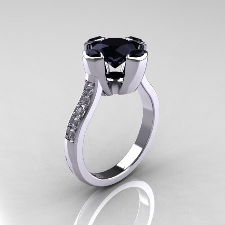Modern Classic 14K White Gold 1.5 Carat Round and Marquise Black Diamond Solitaire Ring AR121-14WGDBLL-1