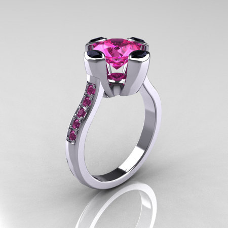 Modern Classic 18K White Gold 1.5 Carat Pink Sapphire Marquise Black Diamond Solitaire Ring AR121-18WGBDPSS-1