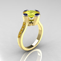 Modern Classic 14K Yellow Gold 1.5 Carat Yellow Diamond Marquise Blue Sapphire Solitaire Ring AR121-14YGBSYDD-1