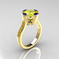 Modern Classic 14K Yellow Gold 1.5 Carat Yellow Diamond Marquise Blue Sapphire Solitaire Ring AR121-14YGBSYDD-1