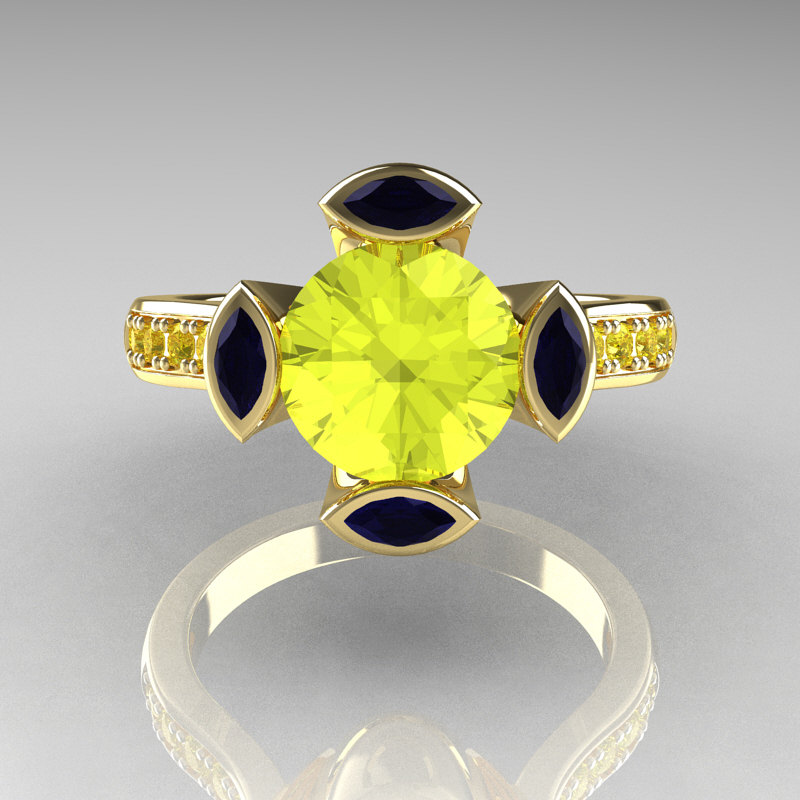 Modern Classic 14k Yellow Gold 1 5 Carat Yellow Diamond Marquise Blue Sapphire