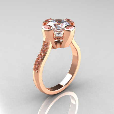 Modern Classic 10K Rose Gold 1.5 Carat Round and Marquise CZ Diamond Solitaire Ring AR121-10RGDCZZ-1