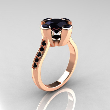 Modern Classic 14K Rose Gold 1.5 Carat Round and Marquise Black Diamond Solitaire Ring AR121-14RGBDD-1