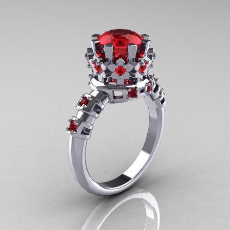 Modern Vintage 14K White Gold 1.5 Carat Ruby Classic Armenian Bridal Ring AR105-14KWGRR-1