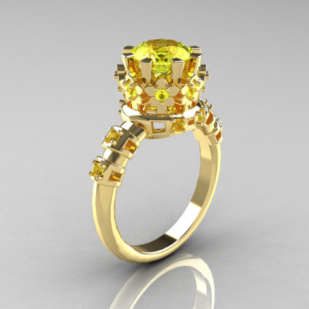 Modern Vintage 14K Yellow Gold 1.5 Carat Yellow Sapphire Classic Ring AR105-14KYGYSS-1