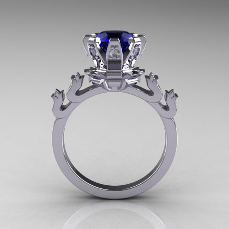 Modern Antique 950 Platinum 1.5 Carat Blue Sapphire Diamond Classic Armenian Ring AR123-PLATDBS-1