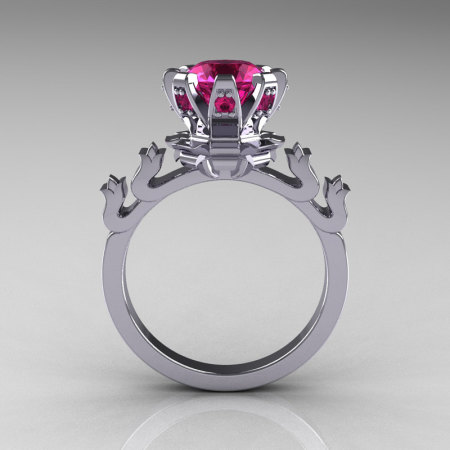 Modern Antique 14K White Gold 1.5 Carat Pink Sapphire Classic Armenian Bridal Ring AR123-14WGPSS-1