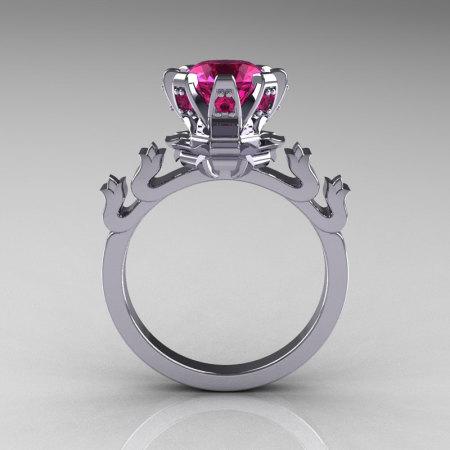 Modern Antique 14K White Gold 1.5 Carat Pink Sapphire Classic Armenian Bridal Ring AR123-14WGPSS-1