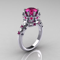 Modern Vintage 14K White Gold 1.5 Carat Pink Sapphire Classic Armenian Wedding Ring AR105-14KWGPSS-1