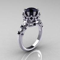 Modern Vintage 10K White Gold 1.5 Carat Black Diamond Classic Armenian Wedding Ring AR105-10KWGBDD-1