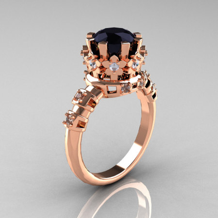 Modern Vintage 14K Pink Gold 1.5 Carat Black and White Diamond Classic Armenian Ring AR105-14KPGDBD-1