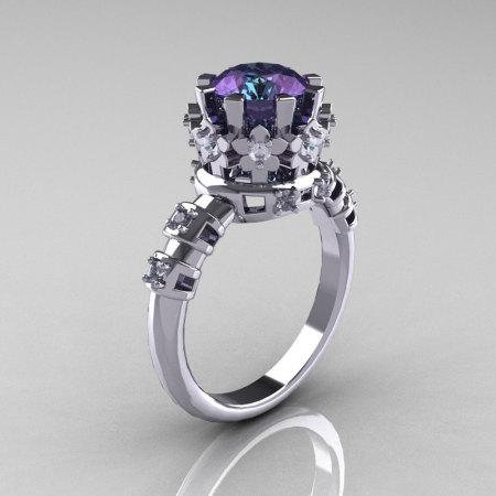 Modern Vintage 10K White Gold 1.5 Carat Alexandrite Diamond Classic Armenian Bridal Ring AR105-10KWGDAL-1