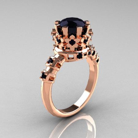 Modern Vintage 10K Pink Gold 1.5 Carat Black Diamond Classic Armenian Bridal Ring AR105-10KPGBDD-1