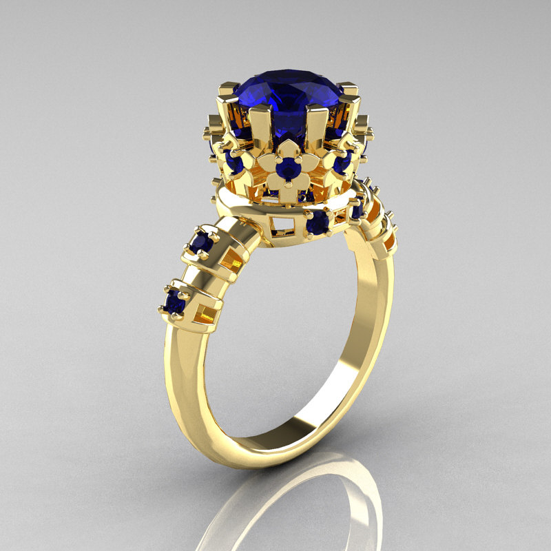 Modern Vintage 18k Yellow Gold 1 5 Carat London Blue Shire