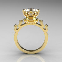 Modern Antique 10K Yellow Gold 1.5 Carat Zirconia Diamond Classic Armenian Wedding Ring AR123-10YGDCZ-1