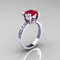 Classic 18K White Gold 1.0 Carat Princess Black and White Diamond Solitaire Engagement Ring AR125-18KWGDBD-1